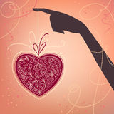 Achtergrond met hand en hart Royalty-vrije Stock Foto