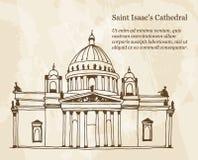 Achtergrond met hand getrokken illustratie van de Kathedraal van Heilige Isaac in Heilige Petersburg, Rusland royalty-vrije illustratie