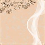 Achtergrond met hand getrokken koffiebonen Stock Fotografie