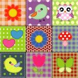 Achtergrond met hart, bloem, paddestoelen, & vogels Royalty-vrije Stock Foto