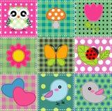 Achtergrond met hart, bloem, paddestoelen, & vogels Royalty-vrije Stock Foto's