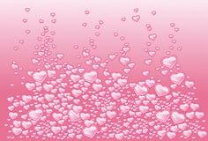 Achtergrond met harten als bellen van champagne Stock Illustratie