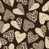 Achtergrond met harten met dierlijk huidpatroon. Stock Afbeeldingen