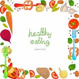 Achtergrond met heldere gezonde groenten Stock Foto