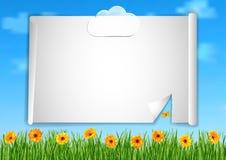 Achtergrond met hemel, wolken, gras, gerberabloemen Royalty-vrije Stock Afbeeldingen