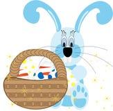 Achtergrond met het hangen van eieren, konijnen en landschap, vectorillustratie Vector Illustratie