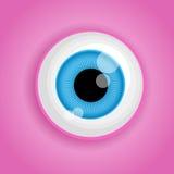 Achtergrond met het oog van het beeldverhaalmonster in roze kleuren Vectorillustratie voor Halloween Stock Fotografie