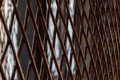 Achtergrond met het roestige net van de vensterbescherming Royalty-vrije Stock Foto