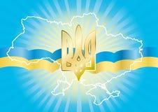 Achtergrond met het staatssymbool van de Oekraïne Royalty-vrije Stock Afbeeldingen