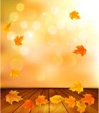 Achtergrond met houten vloer en de herfstbladeren. stock illustratie