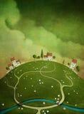 Achtergrond met huizen op de heuvel. Royalty-vrije Stock Foto's
