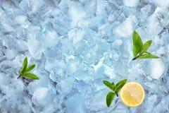 Achtergrond met ijsblokjesmunt en citroen, hoogste mening Stock Foto's