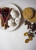 Achtergrond met kaastaart en koekjes 06 Stock Fotografie