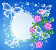 Achtergrond met kader, bloemen en vlinder royalty-vrije illustratie