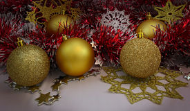 Achtergrond met Kerstmisballen Stock Fotografie