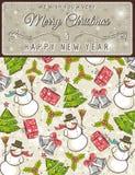 Achtergrond met Kerstmiselementen en etiket Royalty-vrije Stock Afbeeldingen