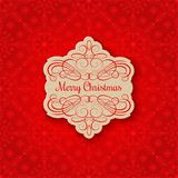 Achtergrond met Kerstmisetiket De kaart van de groet Royalty-vrije Stock Afbeelding