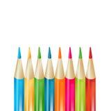 Achtergrond met kleurpotloden Stock Foto's