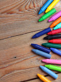 Achtergrond met kleurpotloden Stock Foto