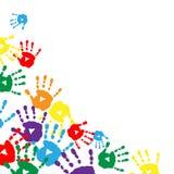 Achtergrond met kleurrijke drukken van de palmen van kinderen Stock Foto