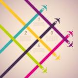Achtergrond met kleurrijke vliegtuigen Stock Foto's