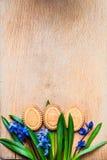 Achtergrond met koekjes de vorm van paaseieren in de blauwe sneeuwklokjes op een houten hakbord Stock Afbeeldingen