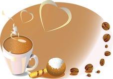 Achtergrond met koffiekop en zoet suikergoed stock illustratie