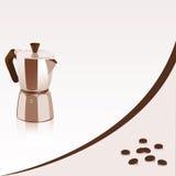 Achtergrond met koffiezetapparaat en koffiebonen Royalty-vrije Stock Foto