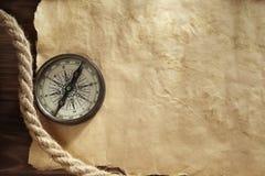 Achtergrond met kompas Stock Foto