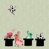 Achtergrond met konijnen royalty-vrije illustratie
