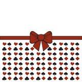 Achtergrond met kostuums Pook of casino naadloos patroon - de vector witte achtergrond met rode en zwarte speelkaart past aan Stock Foto's