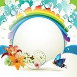 Achtergrond met lelies Stock Afbeelding