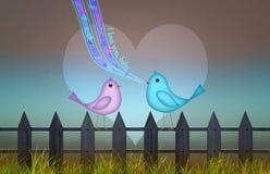 Achtergrond met leuk hart en vogels voor valentijnskaart` s dag Royalty-vrije Stock Afbeeldingen