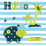 Achtergrond met leuke hippo Stock Afbeelding