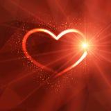 Achtergrond met lichtgevend hart en lichten Stock Afbeeldingen
