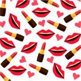 Achtergrond met lippenlippenstiften en harten Stock Fotografie