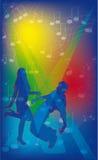 Achtergrond met mensen het dansen en nota's. Stock Foto