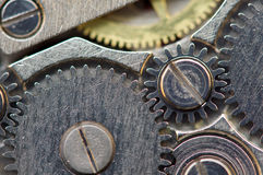 Achtergrond met metaaltandraderen een uurwerk Macro, extreme clos Royalty-vrije Stock Fotografie