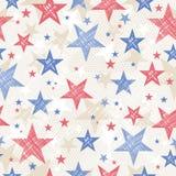 Achtergrond met Naadloos patroon met rode en blauwe sterren Stock Afbeeldingen