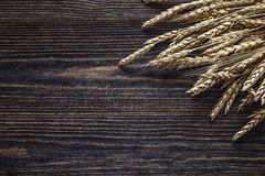 Achtergrond met oren van tarwe op de donkere houten raad Royalty-vrije Stock Afbeeldingen