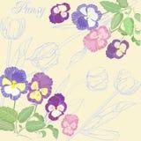 Achtergrond met pansies en tulpen Royalty-vrije Stock Afbeelding