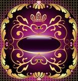 Achtergrond met patroon en kroon van goud en edelstenen Stock Afbeelding