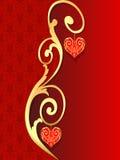 Achtergrond met patroon met hart van gilde stock illustratie