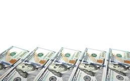 Achtergrond met rekeningen van geld de Amerikaanse honderd dollars met exemplaar binnen ruimte Kader van bankbiljettenbenamingen  Royalty-vrije Stock Foto