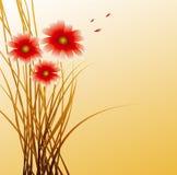 Achtergrond met rode bloemen Stock Afbeeldingen