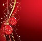 Achtergrond met rode Kerstmissnuisterijen Stock Fotografie