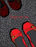 Achtergrond met rode schoenen gespikkeld met tekst en Stock Foto's
