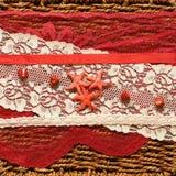 Achtergrond met rode sterren en linten Royalty-vrije Stock Afbeelding