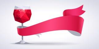 Achtergrond met rode wijnglas en magenta lint Stock Afbeeldingen