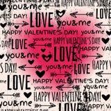 Achtergrond met rood valentijnskaarthart en wensen te Stock Afbeelding